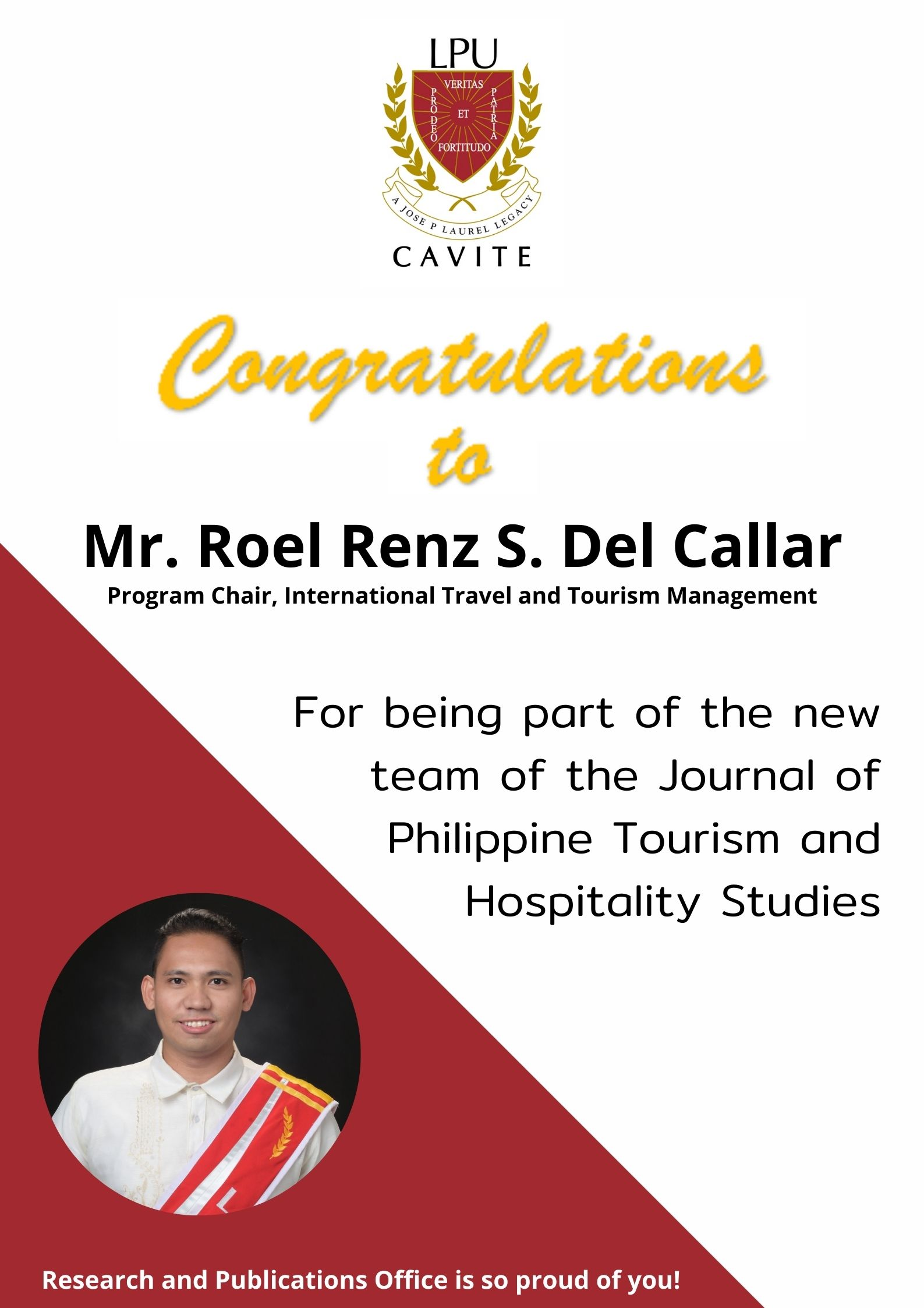 ITTM Program Chair Appointed as a New Member of the Journal of Philippine Tourism and Hospitality Studies (JPTHS)