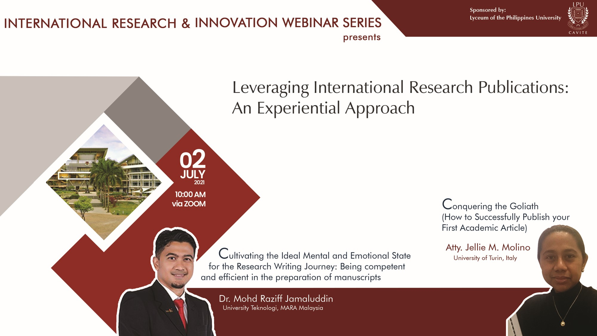 International Research and Innovation Webinar Leveraging International Research Publications: An Experiential Approach