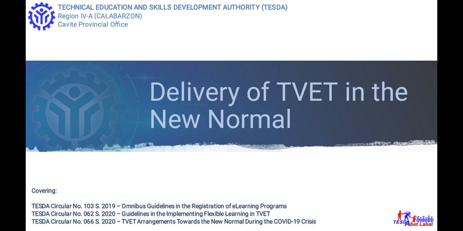 Delivery of TVET in the New Normal