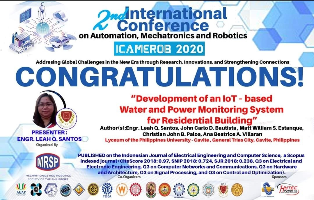 COECSA Prof Publishes Paper on Development of an IoT-based Water and Monitoring System for Residential Building